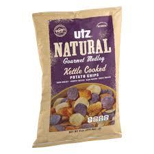 utz natural gourmet medley kettle cookde potato chips 8 0 oz