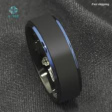 Tungsten Carbide Mens Wedding Rings by Aliexpress Com Buy 8mm Tungsten Carbide Ring Black Brushed Blue