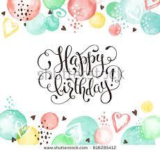happy birthday greeting card watercolor spots stock vector