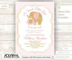 pink and gold baby shower invitations gold pink elephant baby shower invitation card a sweet