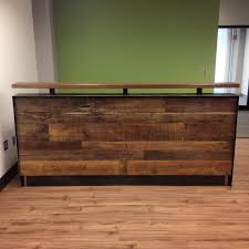 Flat Pack Reception Desk with Reclaimed Wood U0026 Steel Reception Desk
