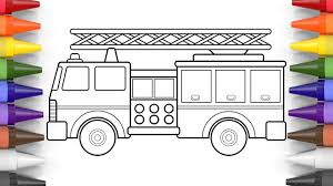 how to draw a fire truck coloring pages for kids art colors for