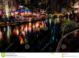 downtown san antonio christmas lights the riverwalk at san antonio texas at night editorial photography