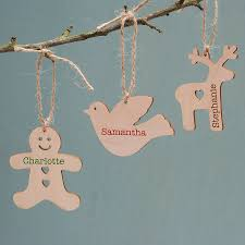 personalised wooden christmas tree decorations uk personalised