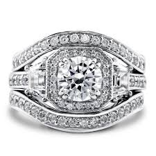 ring sets sterling silver cubic zirconia cz deco halo engagement