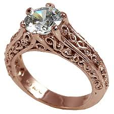 solitaire rings gold images 14k rose gold antique filigree cz cubic zirconia solitaire ring jpg