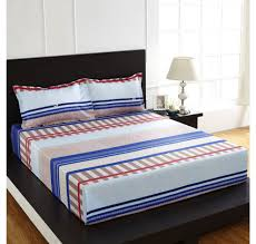 Nilkamal Bedroom Furniture Bedroom Buy Arcade Stripe Bed Sheet Homenilkamal Blue