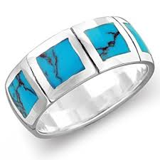 turquoise and wedding ring sterling silver 8mm simulated turquoise