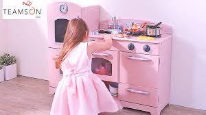 Pretend Kitchen Furniture by Girls Fun Pink Wooden Play Kitchen Toys Kids Pretend Food