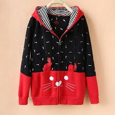 fish sweater harajuku style cat and fish bone embroidery hoodie sweater coat
