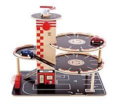 amazon com hape park and go kid u0027s wooden toy car garage play set