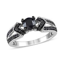 Zales Diamond Wedding Rings by 1 Ct T W Enhanced Black Diamond Engagement Ring In Sterling