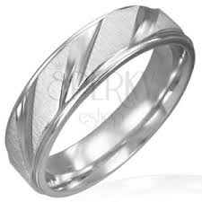 surgical steel band matt surgical steel band with shiny diagonal lines jewellery