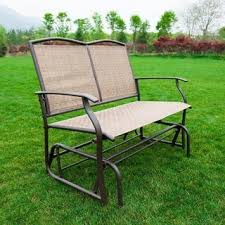 Outdoor Glider Loveseat Poundex Lizkona All Weather Steel And Fabric Outdoor Glider