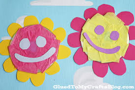 recycled cd smiling flowers kid craft glued to my crafts