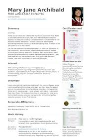 sample self employed resume large size of resumetemplate google