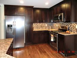 Kitchen Ideas With Stainless Steel Appliances by Furniture Black Wood Thermofoil Cabinets With Light Wooden
