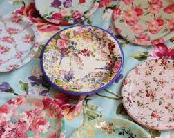 Shabby Chic Plates by Sale 12 Floral Tea Party Paper Bowls Parisian Plate Bridal