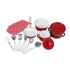 accessoire cuisine enfant batterie de cuisine casseroles en émail et ustensile jouet de legler