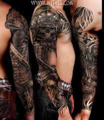 3d swordskull and flying bird on whole arms more tatts