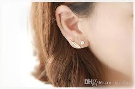 feather stud earrings s043 fashion silver gold metal feather stud earrings plant