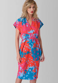 coloured dress closet printed v neck shift dress multi coloured mcelhinneys