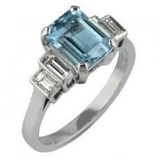 aquamarine and diamond art deco style ring made in uk