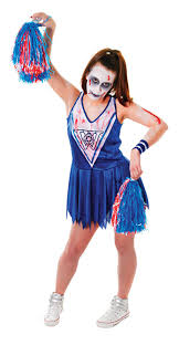 Halloween Costumes Dead Cheerleader Zombie Blue Cheerleader Costume Ladies Halloween Costumes