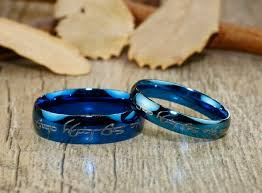 lord of the rings wedding band handmade blue dome shape custom your words in elvish lord of the ring