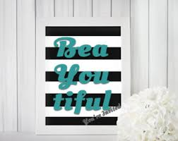 Black White Turquoise Teal Blue by Teal Wall Decor Etsy