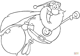 super santa claus fly coloring page free printable coloring pages