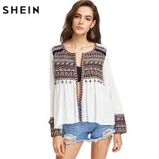 blouses for shein boho blouses for embroidered yoke and cuff coin fringe