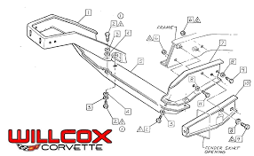 1978 corvette front bumper 1968 1972 corvette front bumper braces exploded view willcox