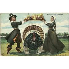 pilgrims and thanksgiving history vintage thanksgiving postcard of a pilgrim man and woman with