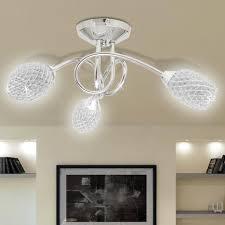 lustres pour chambre lustre le de plafond blanche 3 abats jours en cristal g9 achat