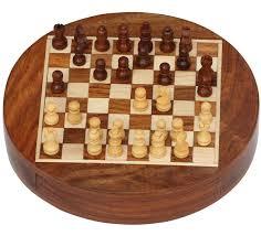 buy chess set wholesale 7x7 inch round wooden chess set with storage drawer bulk