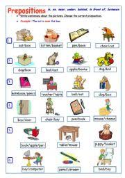 prepositions of place worksheet by victoria