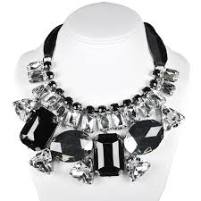 black gem necklace images Wrapables chunky black and white jewel gem bib jpg