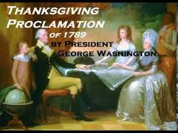 thanksgiving day proclamation of 1789 by president george