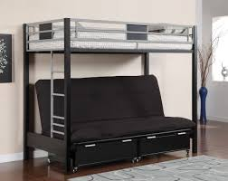 Silver  Black Metal Twin Futon Bunk Bed Youth Furniture - Futon bunk bed