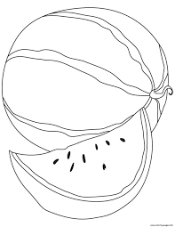 simple watermelon fruit sa2f6 coloring pages printable