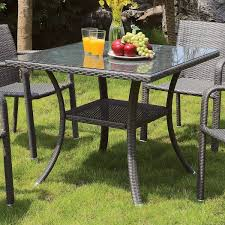 wicker dining table with glass top furniture of america telene contemporary outdoor glass top grey