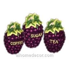grapes kitchen canisters set ceramic fruit theme home decor by kkm