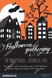 orange black halloween neighborhood block party stock vector