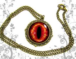 red antique necklace images Deep red demon eye necklace pendant dome glass bronze antique a jpg
