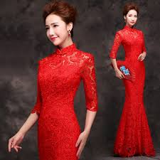 mandarin collar red lace long chinese mermaid wedding dress