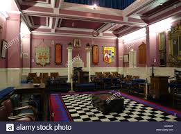 masters chair in temple masonic lodge carmarthen stock photo