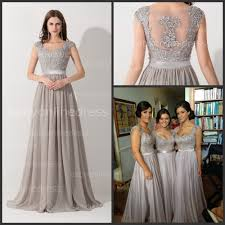 grey bridesmaid dresses wholesale real photos hot selling cap sleeve appliques lace