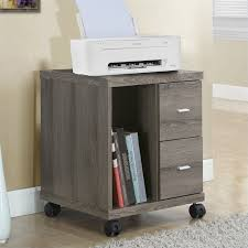 computer and printer table computer printer stand with castors in dark taupe i 7056