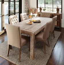 High Narrow Table by Nice Sisal Rug And Elegant Tufted High Back Chairs And Rustic